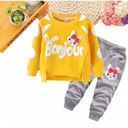 Foto Produk Setelan anak perempuan Baju anak perempuan Sweater anak cardingan anak - Kuning, 1 tahun dari Kids only_store