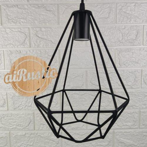 Foto Produk kap lampu gantung diamond design minimalis dekorasi cafe vintage rusti - Hitam, Kap Dan Fitting dari rio Gemstone