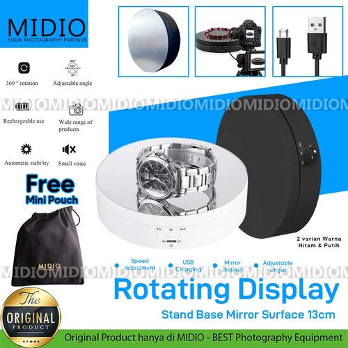 Foto Produk Rotating Display Stand Mirror Display Turntable for Jewelry Watch 13cm - Hitam dari Midio