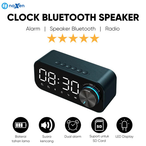 Foto Produk Speaker Bluetooth Naxen B126 Jam Alarm Clock LED Display with FM Radio - Hitam dari TokoUsbcom