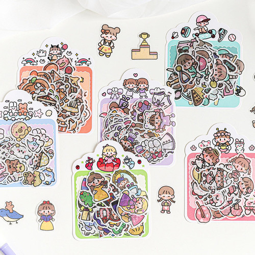 Foto Produk Monica and Friends Flake Sticker Set - Sticker Unik - Sticker Lucu dari Pinkabulous