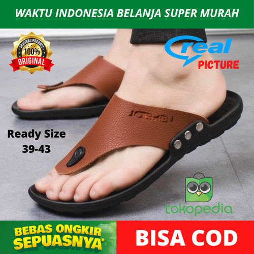 Foto Produk Sandal Jepit Kulit Original Import Pria Cowok Ringan Tipis Awet Empuk - Hitam, 39 dari maxpronline_store
