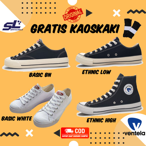 Foto Produk VENTELA ETHNIC BLACK NATURAL Sepatu Vantela Original Ventella 70s BTS - ETHNIC LOW, 37 dari sepatulokalid