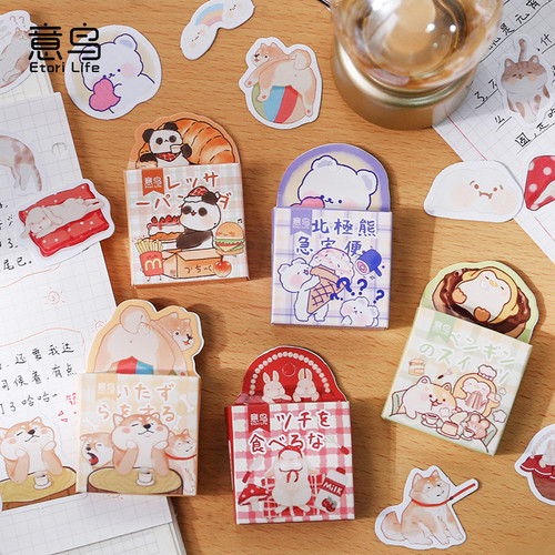 Foto Produk Cute Animal Club Flake Stickers Set - Sticker Unik - Sticker Lucu dari Pinkabulous