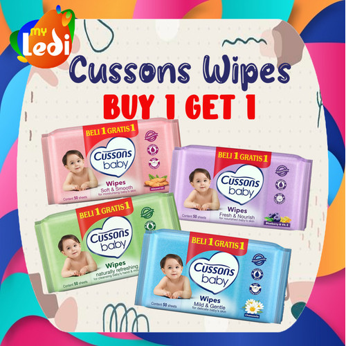 Foto Produk Cussons Baby Wipes 50's (BUY 1 GET 1 FREE) / Tisu Basah / MY LEDI - CS Wipes Ungu dari MY LEDI