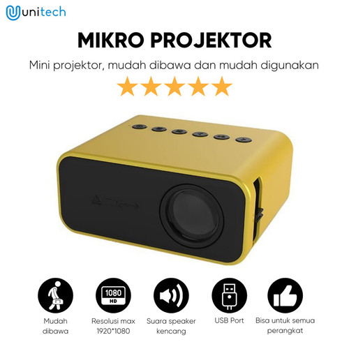 Foto Produk Mini Proyektor LED YT500 Micro Projector Support 1080P Mini Theater - Kuning dari TokoUsbcom
