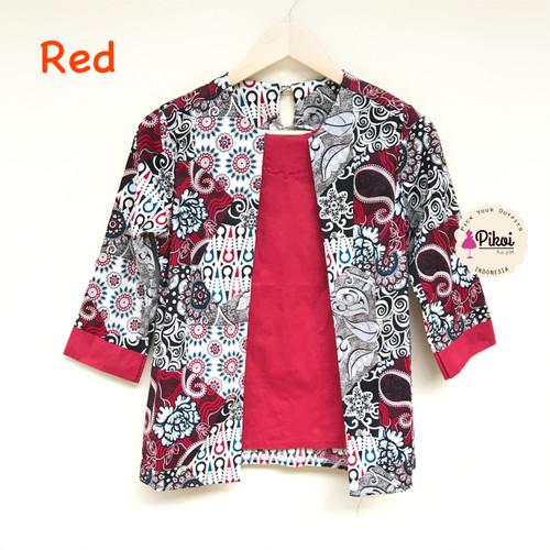 Foto Produk Batik Wanita Modern Murah / Batik Ikat / Dua Model / Blus Batik Kerja - RED (2202) dari Pikoi_id