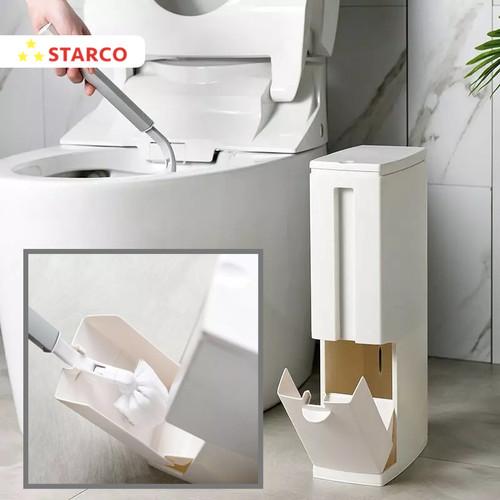 Foto Produk Starco 2 in 1 Tempat Sampah Trash Bin Sikat Toilet WC Kamar Mandi - Putih dari Starco Official Store