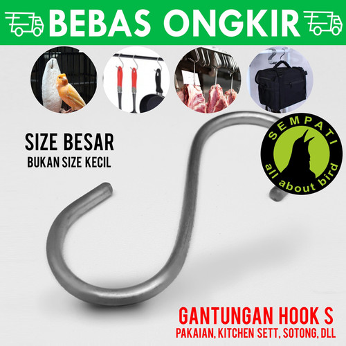 Foto Produk GANTUNGAN S PENGAIT SLING HOOK LETTER CHROME SEMPATI SOTONG BURUNG GHO dari Sempati Bird Shop