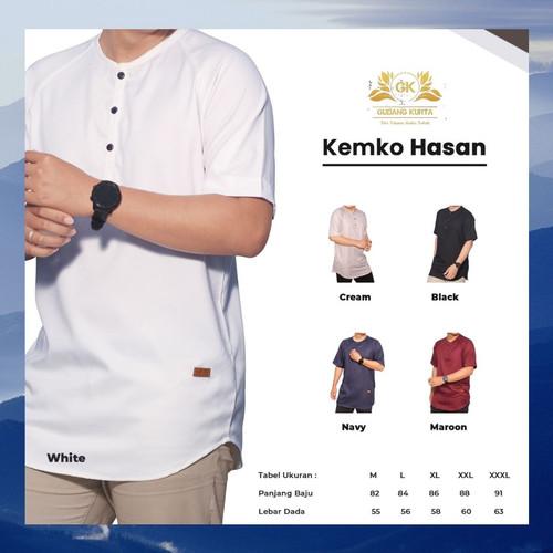 Foto Produk Baju Koko Kurta Pakistan Muslim Pria Dewasa Lengan Pendek Hasan Putih - Putih, M dari Gudang Kurta Store