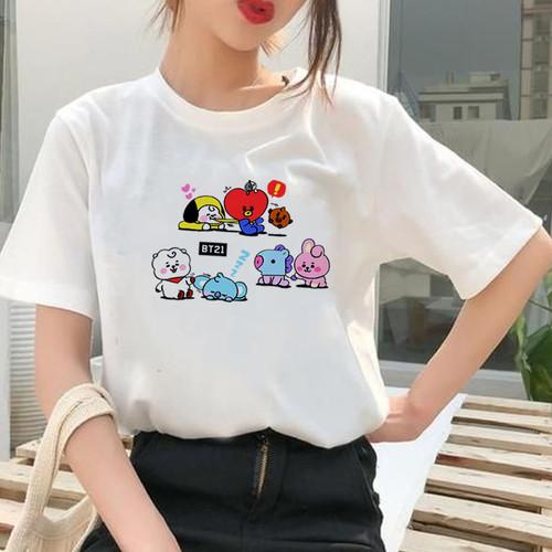 Foto Produk Baju Kaos Atasan Tshirt Katun icon BT21 BTS Remaja Cewek Wanita Import - Putih, S dari Onestopfashionid