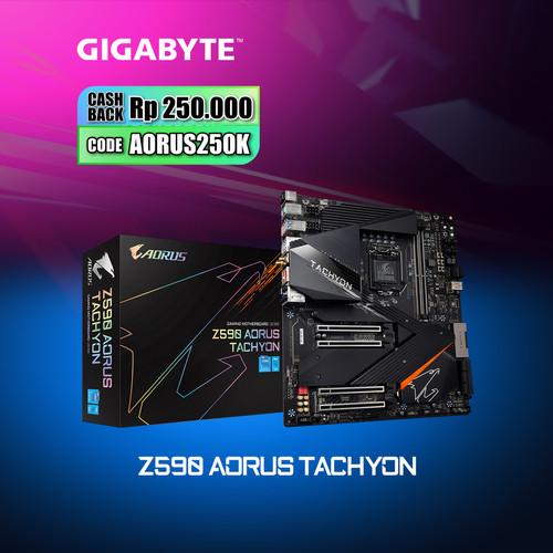 Foto Produk Gigabyte Motherboard Z590 Aorus Tachyon Socket LGA1200 2 x DDR4 E-ATX dari Myclub
