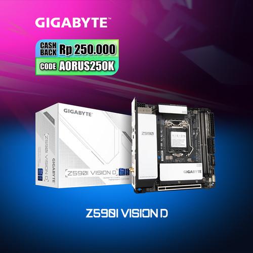 Foto Produk Gigabyte Motherboard Z590i VISION D Socket LGA1200 2 x DDR4 Mini-ITX dari Myclub