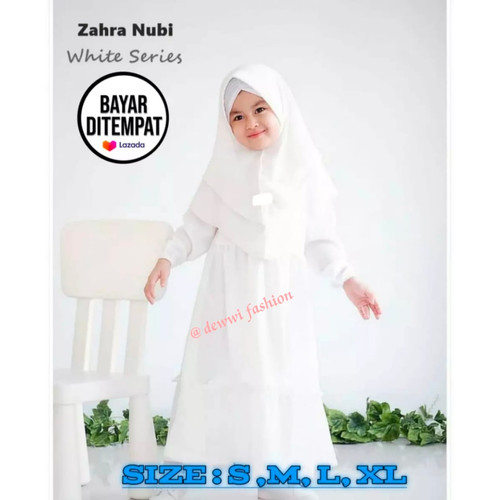 Foto Produk Baju Muslim Gamis Anak Putih Polos Manasik Gamis Anak Terbaru 2021 - Putih, S dari kahfy_store