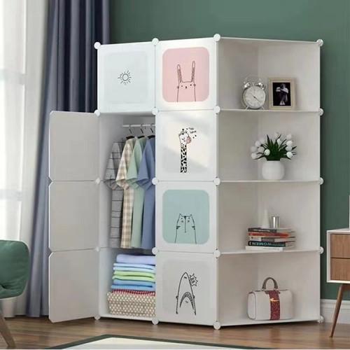 Foto Produk Lemari Plastik Pakaian DIY / Wardrobe / Rak Baju Animal Character - 8 Cube + 4 Rak dari SUNXIN