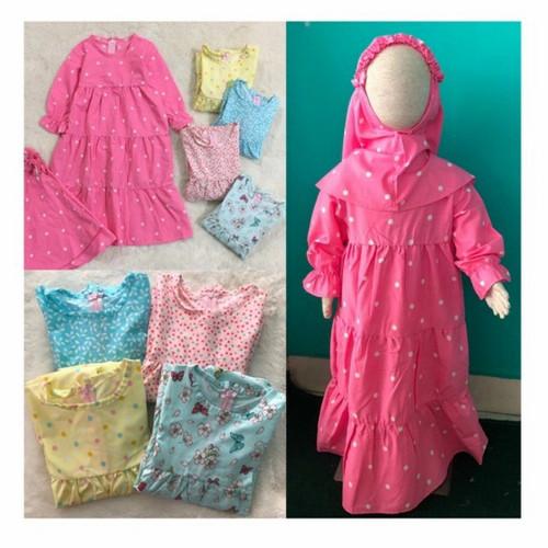 Foto Produk Gamis Hijab Baju Muslim Blanjuran Anak Perempuan 1 2 3 4 5 6 Tahun New - Random, 1 tahun dari niagaid
