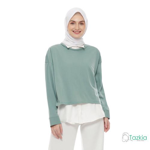 Foto Produk Atasan Muslim Wanita   Kemeja Gwen Hijau   Longsleeve Oversized Blouse dari Tazkia Hijab Store