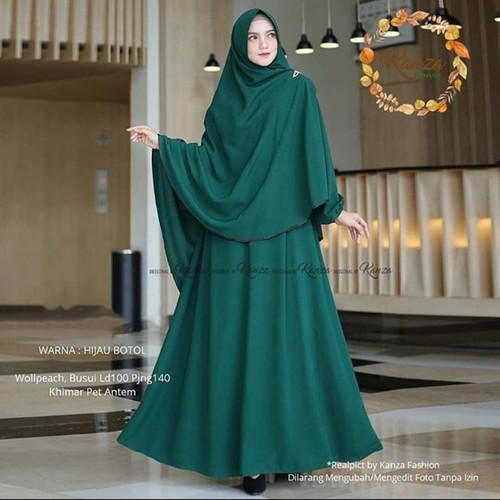 Foto Produk Baju Gamis Syari Set Khimar Wanita Remaja Modis Polos Terbaru Murah - hijau bottol dari damris shop