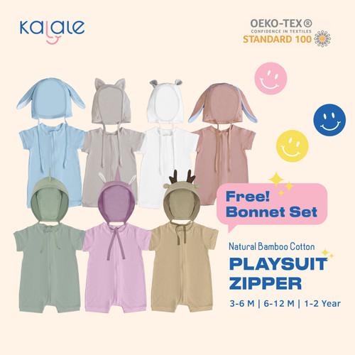 Foto Produk KALALE PLAYSUIT BONNET SET / ROMPER / JUMPER ANAK DAN BAYI - Grey Kitty, 3-6 Bulan dari BABYOOZE
