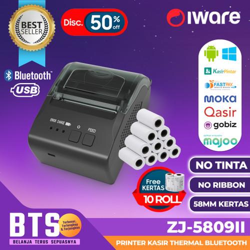 Foto Produk Printer Kasir PPOB Thermal bluetooth Iware ZJ-5809ii 58mm free 10 Roll dari Iware Official Store