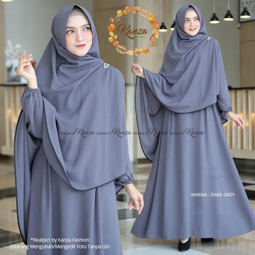 Foto Produk Baju Gamis Syari Set Khimar Wanita Remaja Modis Polos Terbaru Murah - grey/abu dari damris shop