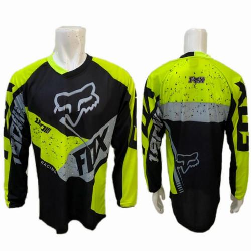 Foto Produk Kaos Jersey Sepeda Gowes Motor Cross Downhill Thor Panjang C080 Cros - Black-Fluo, L dari Ayung Sportindo Malang