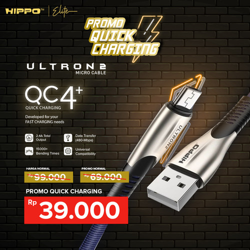 Foto Produk Hippo Elite Ultron 2 Micro USB Port Cable 100 cm (For Android) - Merah dari Hippo Elite