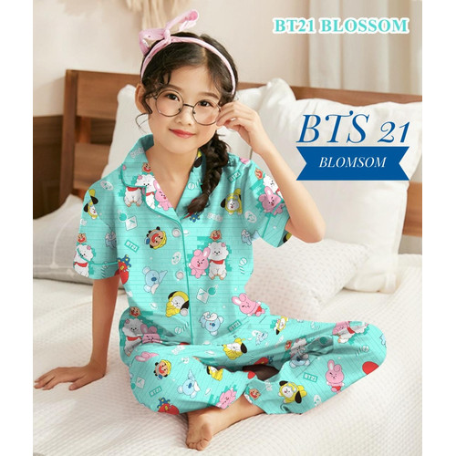 Foto Produk Baju Tidur Piyama Anak Perempuan 3-10 tahun/ Motip Terbaru BTS 21 - BTS tosca, S ( 3-4 tahun) dari ciahawshop