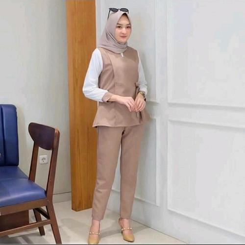 Foto Produk baju setelan wanita kerja casual muslim terbaru kekinian radina set - pumkin, L dari Zona berkah hijab