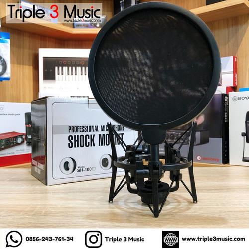 Foto Produk RECORDING TECH SH101 shockmount with drat dan Pop filter dari triple3music