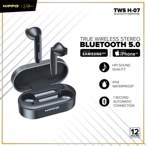 Foto Produk Hippo TWS H-07 True Wireless Stereo Bluetooth 5.0 Support Smartphone - Hitam dari Hippo Elite