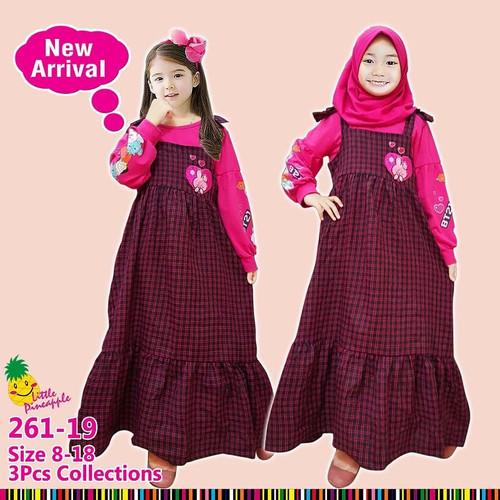 Foto Produk Little Pineapple Baju Muslim Anak Gamis Anak Junior BT21 BTS 261-19 dari ZidanZone Baby&Kids