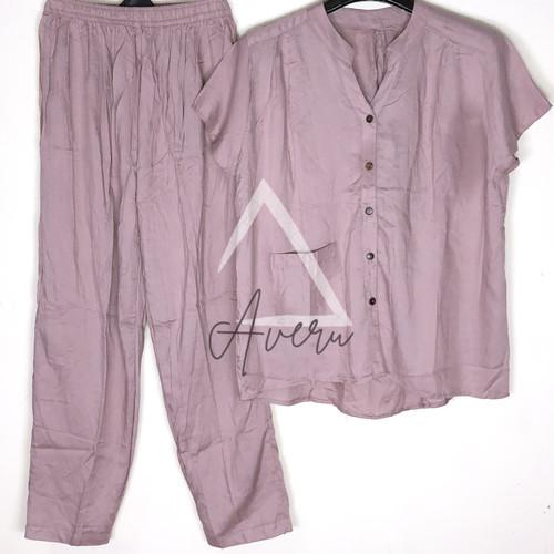 Foto Produk Baju Tidur Wanita Piyama Setelan Rayon CP Celana Panjang - Polos - Lavender dari Averu
