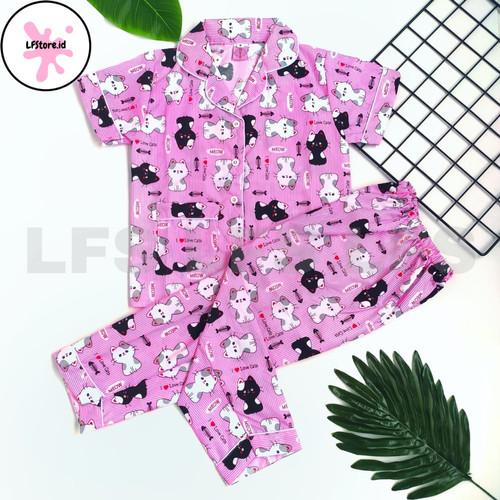 Foto Produk Piyama anak perempuan 3~9thn Katun Jepang Baju tidur anak perempuan - S, Kucing Pink dari LFS_Collection