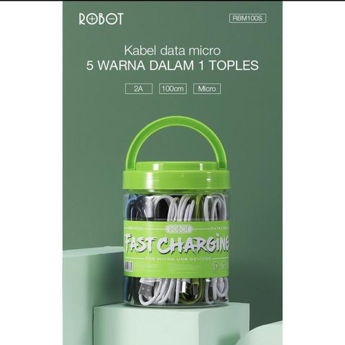 Foto Produk Kabel data ROBOT RBM100 micro usb 2A 100cm / kabel data bulat robot dari star88