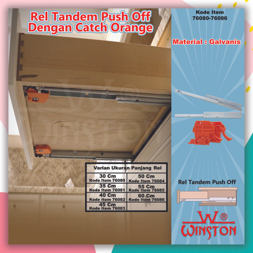 Foto Produk Rel Laci Tandem Winston 60 CM Single Extention Push To Open / 76086 dari WINSTON-OK OFFICIAL STORE