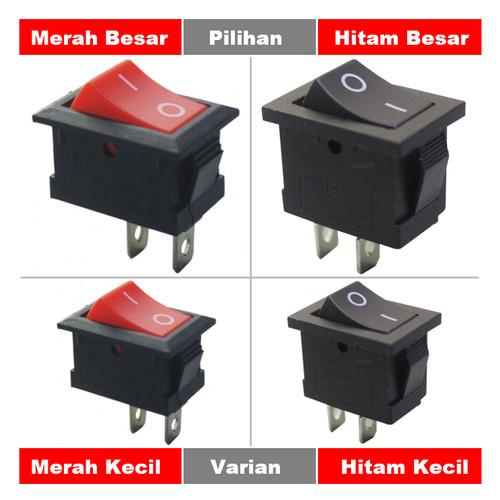 Foto Produk Saklar Power On Off Mini Rocker Switch Besar Kecil Hitam Merah 2-P Pin - Merah Kecil dari mirorim