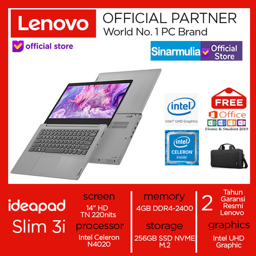 Foto Produk Laptop Lenovo ideapad Slim 3i Celeron N4020 256 GB SSD Win10+OHS Murah - BUSINESS BLACK dari Sinarmulia Sukses Makmur