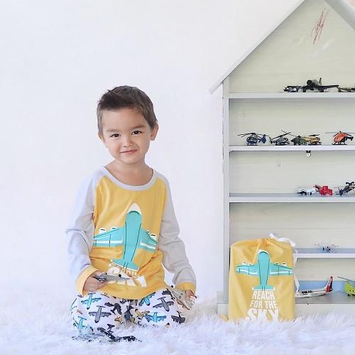 Foto Produk Piyama Anak Long Shirts Airplane LSLP110 - 4 dari Boboo Kids