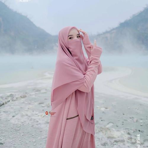 Foto Produk ABAYA DAILY LEOPARD KNIT ORI KHUMAIRA - rose pink, L dari Muzaki Baby n Kids