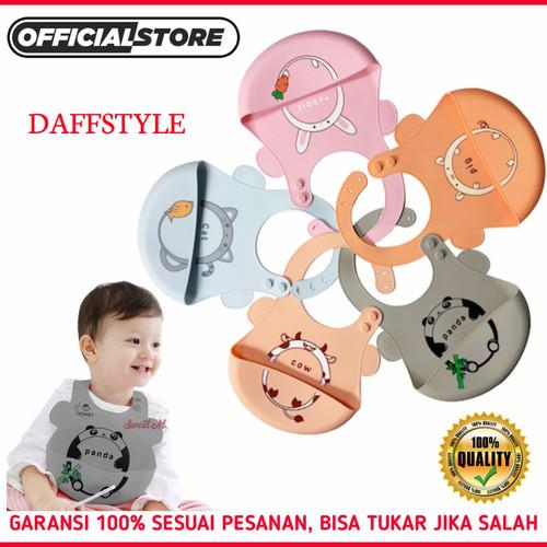 Foto Produk Slabber Bayi BPA Free Silicone / Celemek Slaber Anak Silikon Karakter - PANDA dari Daff Style