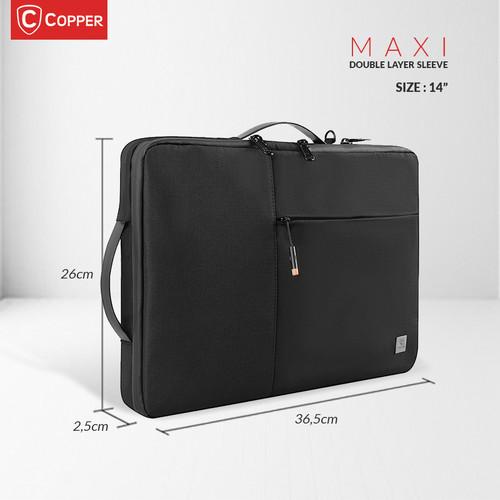 "Foto Produk COPPER Maxi Double Layer Sleeve 14"" & 15.6""/Tas Laptop Maxi Waterproof - 14"", Hitam dari Copper Indonesia"