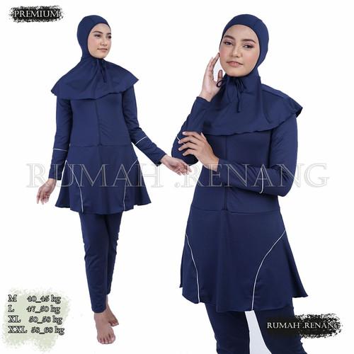 Foto Produk Baju renang muslimah/Dewasa/remaja/pakaian renang muslim/cewek - LISTANGAN BIRU, M dari Rumah Renang