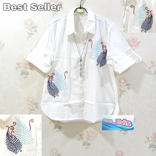 Foto Produk Kemeja / Shirt / Wanita / Cewek / Motif Bunga Putih dari Darren Elvis