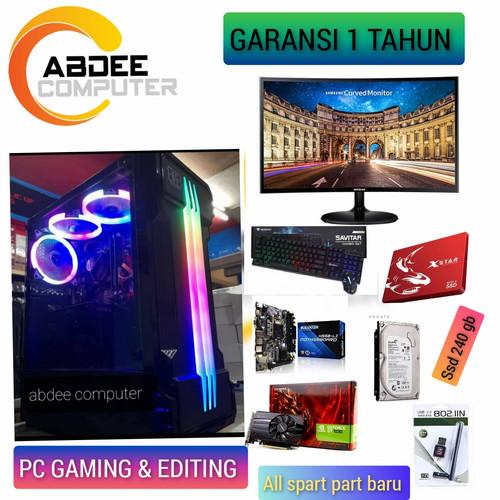 Foto Produk PC GAMING CORE I7 RAM 16 GB SSD 240 GB WITH LED 24 IN SAMSUNG CURVED dari riuu computer
