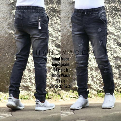Foto Produk Celana Jeans Joger Pria JUMBO - Jeans Pinggang Karet - Black dari Mossa's Shop