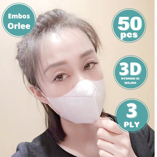 Foto Produk Masker Duckbill 3ply Dewasa isi 50 Orlee 3D Face Mask Earloop Kemenkes - Hitam dari lbagstore
