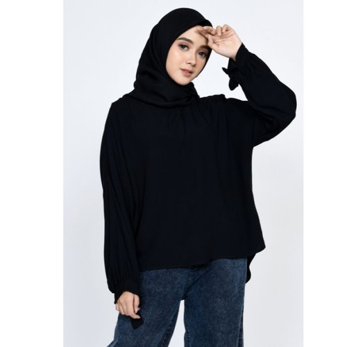 Foto Produk Atasan Wanita Blouse fit XL ZAHRA SIGNATURE Blouse Rayon Cotton Rita - BLACK, M dari Zahra Signature