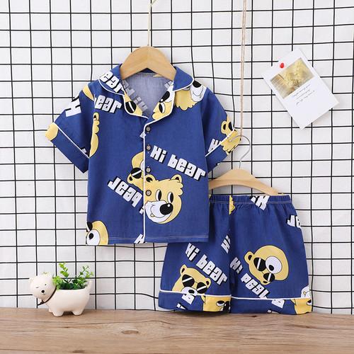 Foto Produk Baju tidur anak laki laki / piyama anak perempuan / kerah halus -PJ016 - Navy Bear, 100 dari jktumbrella