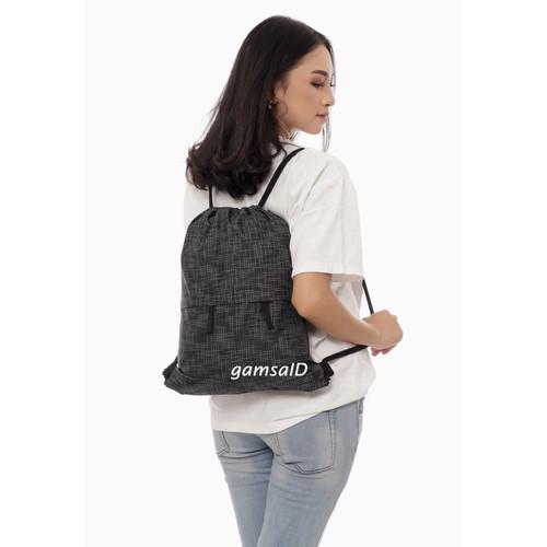 Foto Produk GYMSACK / TAS SERUT / DRAWSTRING / STRING BAG / TAS PRIA DAN WANITA - MOTIF BLACK dari gamsaID